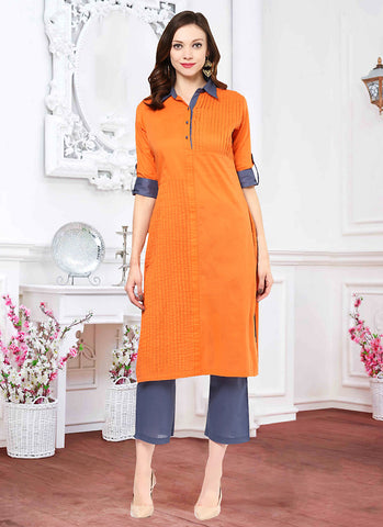 Orange Color Incredible Straight Kurti Style in Cotton
