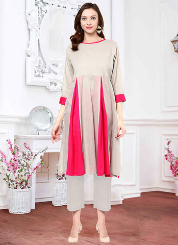 Cotton Fabric with Plain Work Work Astounding Readymade Kurti