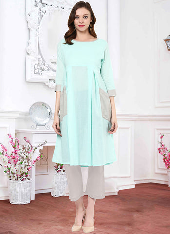 Incredible A-line Kurti Style in Turquoise Color