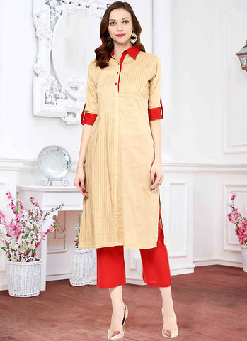 Incredible Straight Kurti Style in Cotton & Brown Color