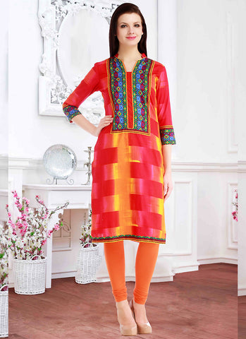 Red Color Incredible Straight Kurti Style