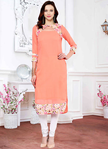 Pink Incredible Straight Kurti in Georgette
