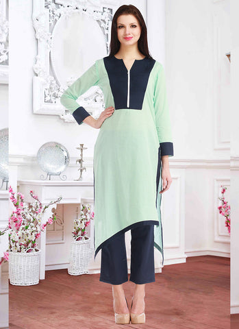 Green Incredible Straight Kurti Style in Cotton