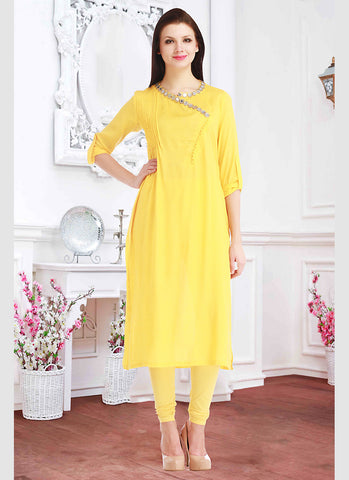Yellow Color Incredible Straight Kurti