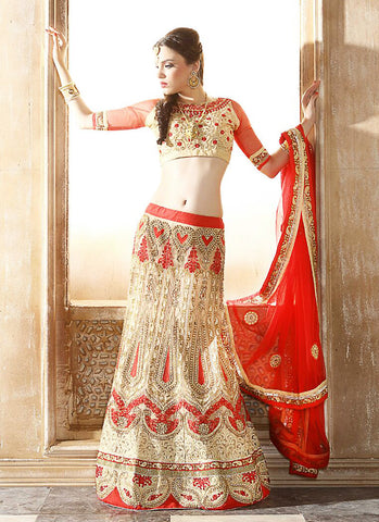 Women's Beige Pretty A Line Lehenga Choli With Resham Work Dupatta