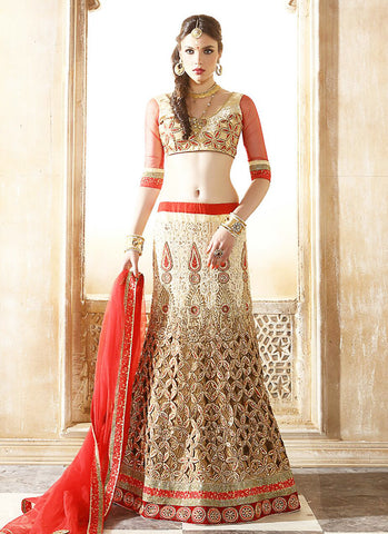 Women's Beige Net Fabric Pretty Unstitched Lehenga Choli With Resham Work Dupatta