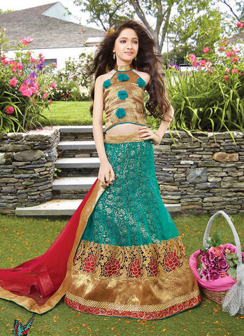 Girl's Green Color Lehenga Cholis With Lace & Resham Work
