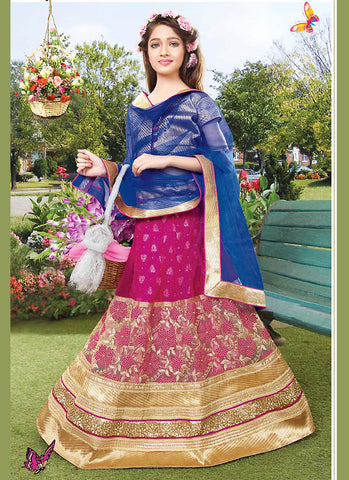 Girl's Pink Color Lehenga Cholis With Resham & Lace Work