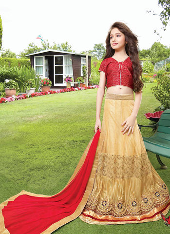 Girl's French Beige Net Fabric Striking Unstitched Lehengha Choli In Traditional Look
