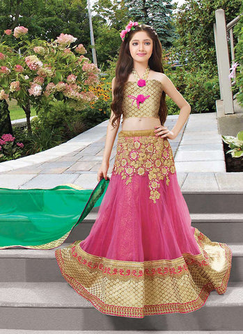 Girl's Pink Net Fabric Striking Unstitched Lehengha Choli In Traditional Look