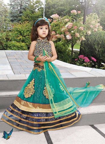 Girl's Emerald Net Fabric Striking Unstitched Lehengha Choli In Traditional Look