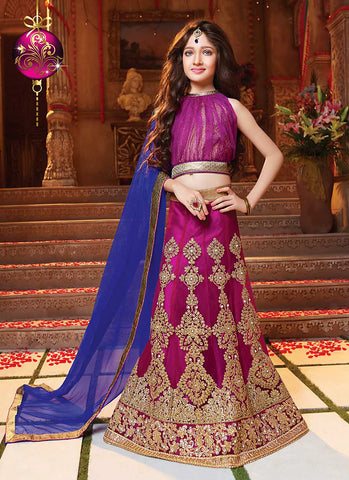 Girl's Magenta Net Fabric Striking Unstitched Lehengha Choli In Traditional Look