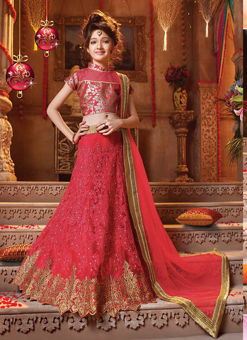 Girl's Crimson Net Fabric Striking Unstitched Lehengha Choli In Traditional Look