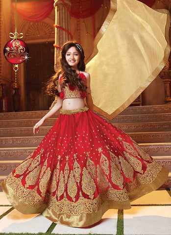 Girl's Red Color Lehenga Cholis With Lace & Resham Work