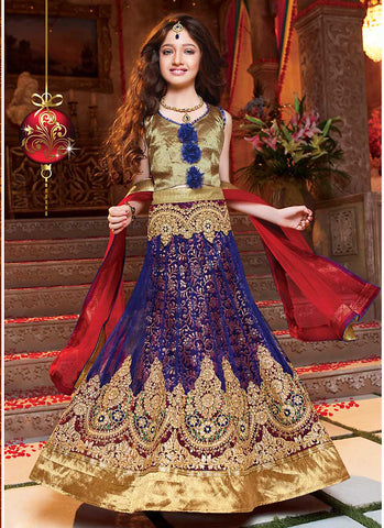 Girl's Navy Blue Net Fabric Striking Unstitched Lehengha Choli In Traditional Look