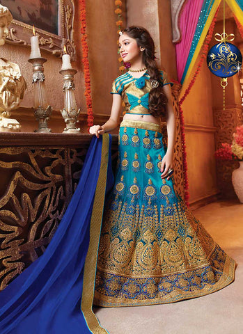 Girl's Blue Color Lehenga Cholis With Lace & Resham Work