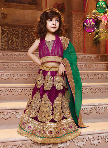 Girl's Lace Fuchsia Color Beautiful Lehenga Cholis In Traditional Look