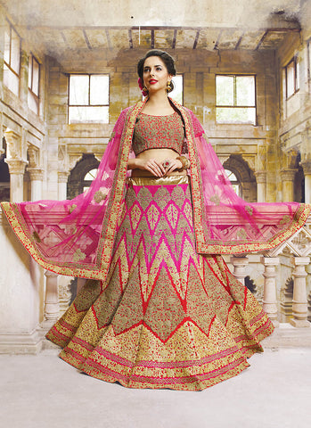 Women's Georgette Fabric & Deep Pink Pretty A Line Lehenga Style With Resham Work Dupatta