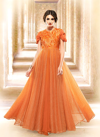 Attractive Jacquard Fabric Orange Unstitched Gown