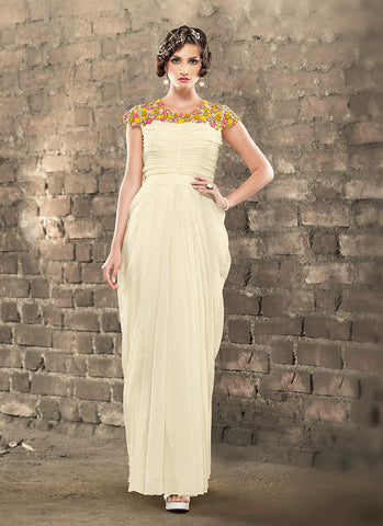 Attractive Jacquard Fabric Cream Unstitched Gown