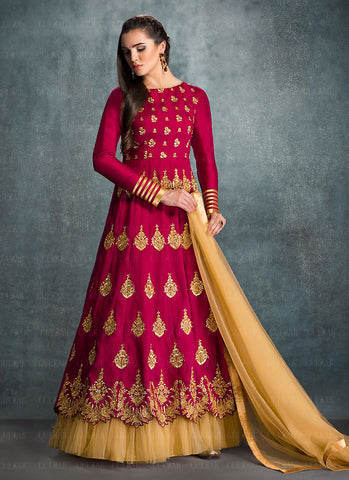 A Line Style Pink Color with Crystals Stones Work Incredible Unstitched Salwar Kameez