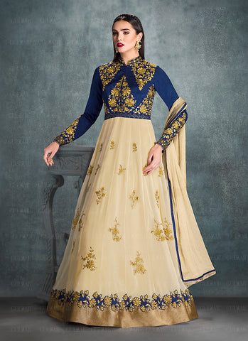 A Line Style Incredible Salwar Kameez in Blue Color & Georgette Fabric