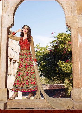 Anarkali Style Brown with Sequins Work Incredible Unstitched Salwar Kameez