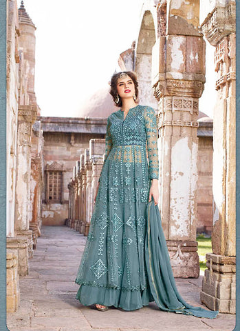 Anarkali Style Grey with Butta Work Incredible Unstitched Salwar Kameez