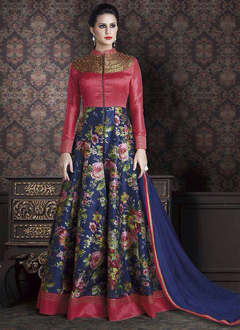 Long Anarkali Style Red Color with Printed Work Incredible Unstitched Salwar Kameez