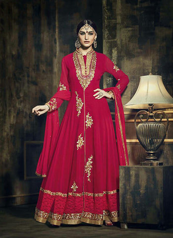 Chiffon Red Incredible Unstitched Salwar Kameez