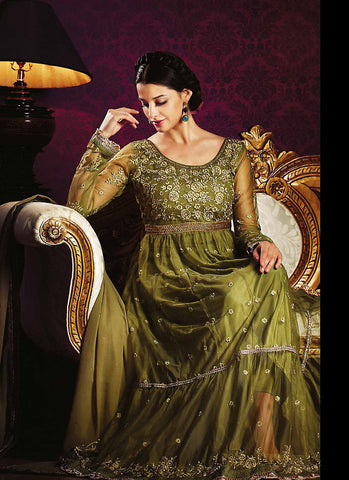Anarkali Style Green with Lace Work Astounding Unstitched Salwar Kameez