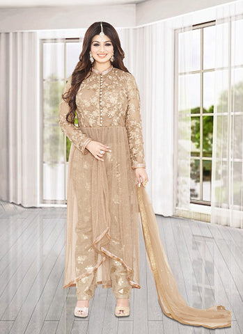 Anarkali Style Brown with Embroidery Work Incredible Unstitched Salwar Kameez