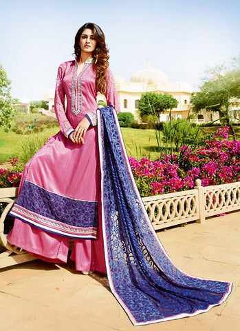 Tussar Silk Pink Incredible Unstitched Salwar Kameez