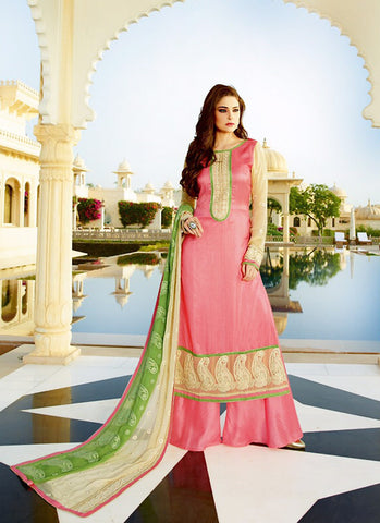 Tussar Silk Pink Color Incredible Unstitched Salwar Kameez