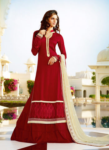 Tussar Silk Red Incredible Unstitched Salwar Kameez