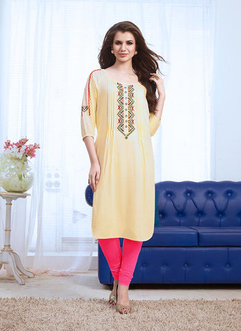 Incredible Straight Kurti Style in Cotton & Cream Color