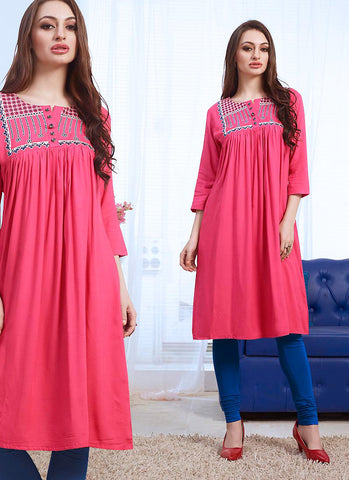 Cotton Pink Incredible Readymade Kurti