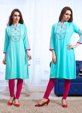 Incredible Straight Kurti Style in Cotton & Turquoise
