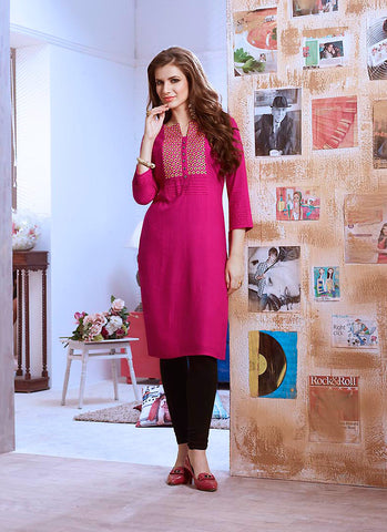 Cotton Pink in Incredible Straight Kurti Style