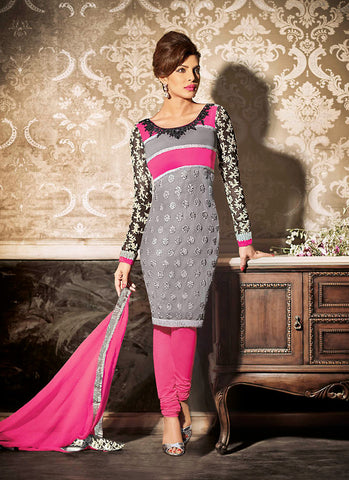 A Line Style Grey with Butta Work Incredible Unstitched Salwar Kameez