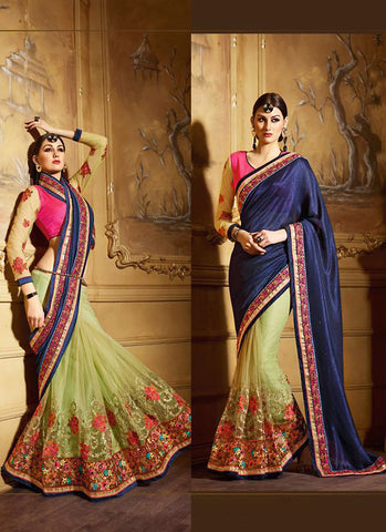 Classic Looking Net Blue Saree For Womens