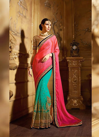 Attractive Looking Satin Turquoise Ethnic Saree Womens