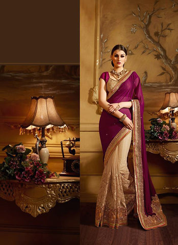 Classic Looking Georgette Violet Women's Ethnic Saree