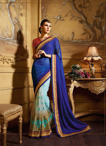 Attractive Looking Blue Georgette Ethnic Saree For Women