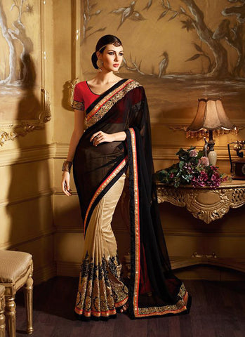 Attractive Looking Ethnic Black Butta Work Saree For Womens