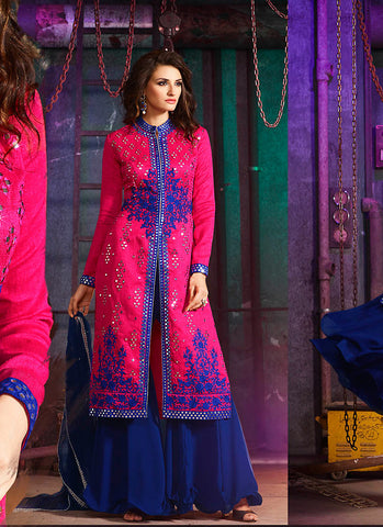 Achkan Style Pink Color with Sequins Work Incredible Unstitched Salwar Kameez