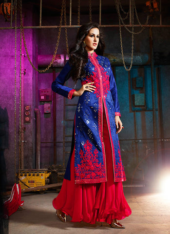 Achkan Style Blue with Sequins Work Incredible Unstitched Salwar Kameez