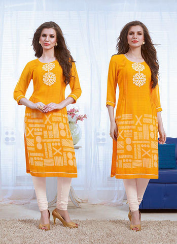 Yellow Color with Embroidery & Printed Work Incredible Readymade Kurti