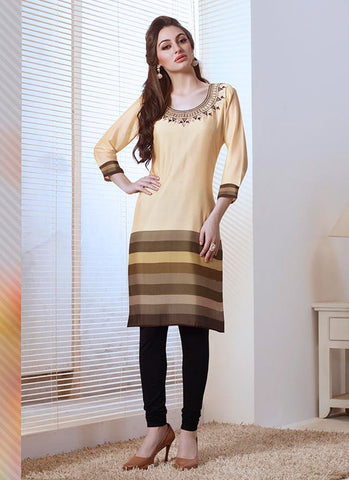 Beige Color with Embroidery & Printed Work Incredible Readymade Kurti