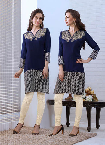 Blue Color with Printed & Embroidery Work Incredible Readymade Kurti